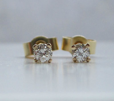 New 1/10 Tenth of a carat .10ct Diamond 9ct Yellow Gold Stud Earrings £79.99