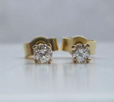 New 1/5ct (.20ct) Diamond 9ct Yellow Gold Stud Earrings £85 Freepost