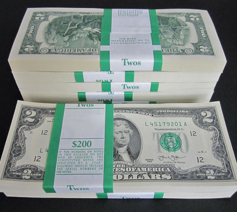 25 Two Dollar Bills NEW $2 Bundle US Paper Money from BEP Pack Uncirculated