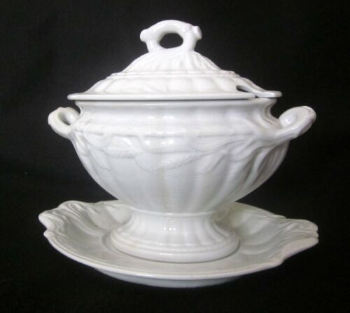 Elsmore & Forster CERES Wheat White Ironstone 3 Piece Sauce Tureen Set