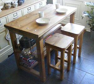 Rustic kitchen island breakfast bar work bench butchers block with 2