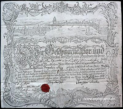 Frankfurt Gesamtansicht Handwerkskundschaft Gesellenzeugnis Kupferstich 1810