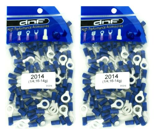 "(200 PACK) 1/4"" BLUE 16-14 GAUGE POWER RING TERMINALS ELECTRICAL WIRE CONNECTORS"