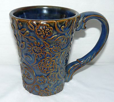 Road 12 Oz Mug - GRASSLANDS ROAD 12 OZ RAISED FLOWER DESIGN HANDCRAFTED COFFEE MUG CUP USED