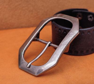 Center Bar Jean Belt (Heavy Solid Silver Men Leather Huge Center Bar Jeans Belt Buckle Fit 40mm)