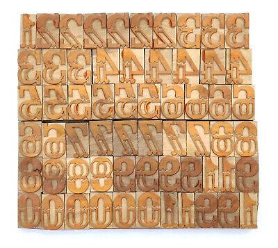 Vintage Letterpress Woodwooden Printing Type Block Typography 61 Pc 40mmlb140