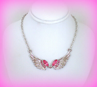 PINK CRYSTAL ANGEL WINGS BREAST CANCER AWARENESS RIBBON SILVER CHARM NECKLACE