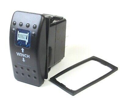Momentary Winch Rocker Switch Dpdt 20a 12vdc Illuminated Blue Lens Updown
