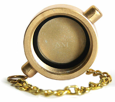 """1-1/2"""" NST Cap and Chain Brass Plated Cast Aluminum for Fire Hose, Hydrants -NNI"""