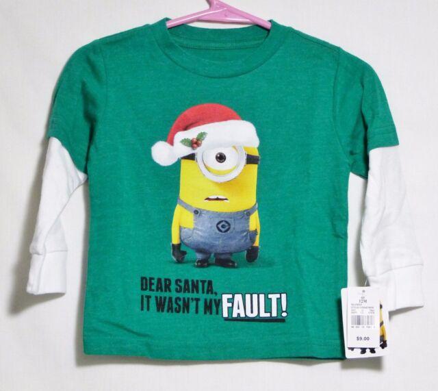 Girls Despicable Me Minion Dear Santa Christmas T-shirt 12 M 4t 12 ...