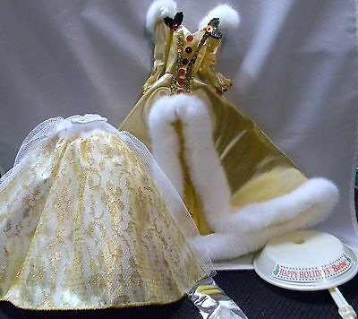 BARBIE DOLL 1994 HAPPY HOLIDAYS GOLD GOWN + ACCESSORIES