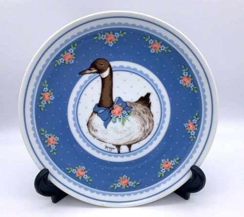 """1985 George Good by Fabrizio Plate - Goose w/ Floral Design - 8.25"""" - Japan"""
