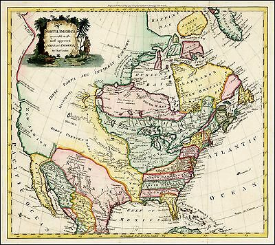 1778 Decorative map of North America large title cartouche POSTER 28853