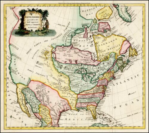 1778 North America Decorative map of large title cartouche POSTER 28853