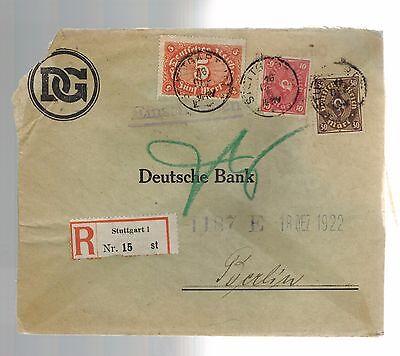 1922 Stuttgart Germany Einschreiben Registered Mail Deutsche Bank Cover