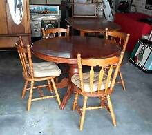 Round Extendable Dining Table & Four Chairs Endeavour Furniture Mount Colah Hornsby Area Preview
