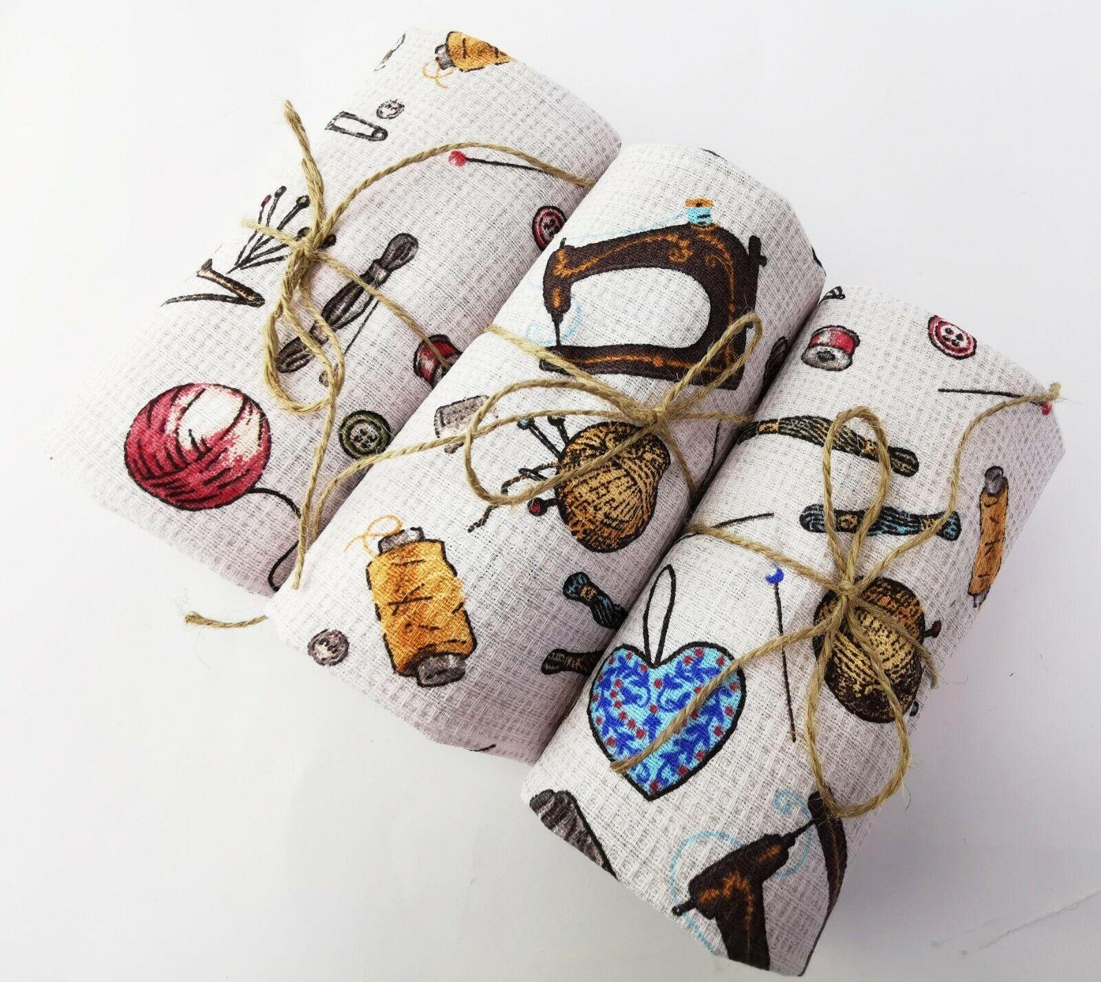 3 pcs Handmade 100% cotton kitchen dish towel set craft styl