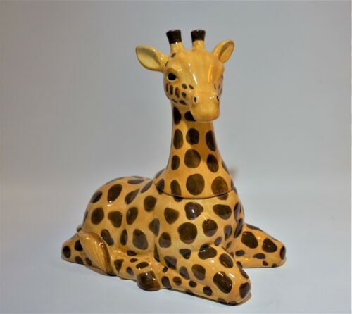 Sakura Stephanie Stouffer Giraffe Jungle Theme Ceramic Cookie Jar Hand Painted
