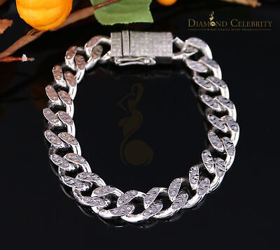 10K White Gold Finish with 2.00CT Real Diamond Silver Men's Bracelet-Size 8 Inch 8