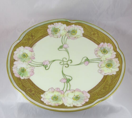 Antique Pickard China Artist Signed Gifford Twin Poppy Large Charger Plate