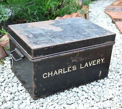 Vintage Document Tin Charles Lavery Tin Black Metal Tin Office Box Office