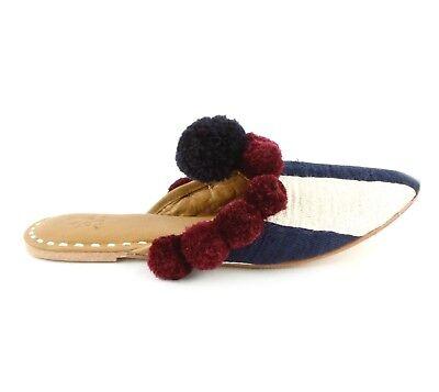(Figue New Frida Pompom Slides Shoes Navy Blue & White Stripe Flat Heel MSRP $295)