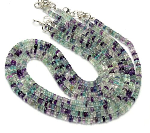 Natural Gem Multi-color Fluorite 5MM Smooth Rondelle Heishi Beads Necklace 17""