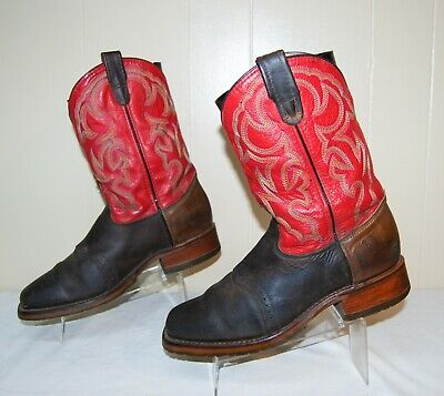 Double H Roper DH3556 Square Toe Leather Cowboy Western Boots Brown Red 11 D