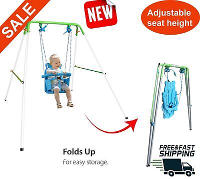 Kids Indoor Outdoor Baby Toddler Swing backyard Swingset Folding playground