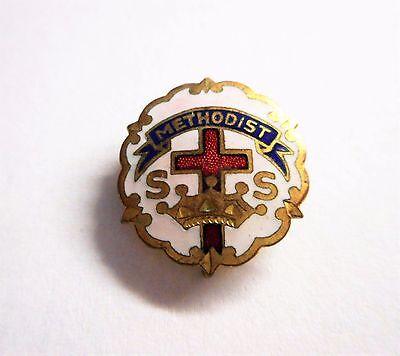 Vintage Methodist Pin Brooch Enamel Little's System Cross and Crown