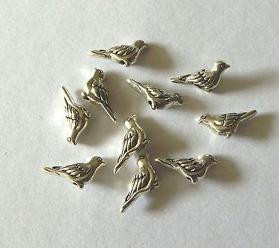 25x Perlen Metall Perle Vogel Tier Hochzeit Antik Silber 7x14mm Schmuck Basteln