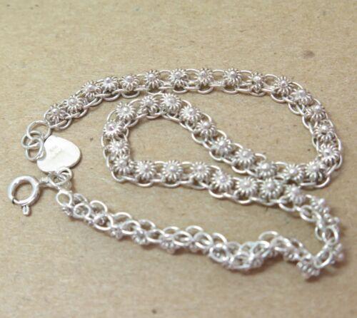 "Tiny Daisy Linked 925 Sterling Silver Anklet Ankle Bracelet 10"" Rosette 8.4g"