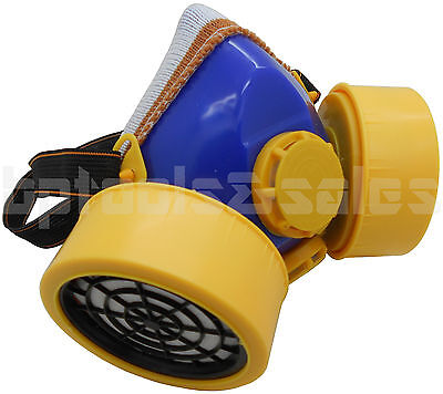 Industrial Chemical Respirator Mask Assembly W Dual Filter Cartridges Gas Vapor