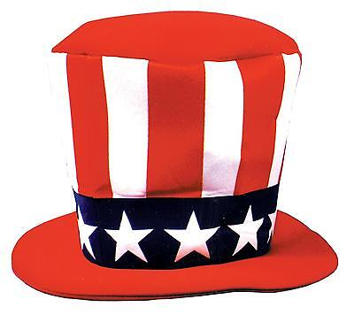 """ADULT AMERICAN FLAG FOAM 8"""" TOP HAT 4TH JULY INDEPENDENCE COSTUME GC121"""