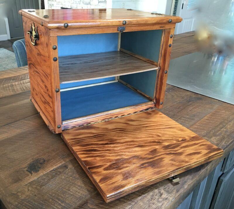 Vintage Handmade Wood Box Desk Accessory, Wooden Storage Cabinet Box