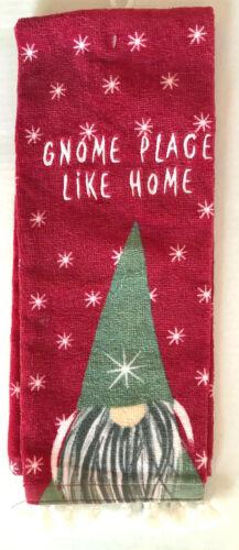 "Gnome Christmas Holiday Hand Towel w/ Fringe ""Gnome Place Like Home"""