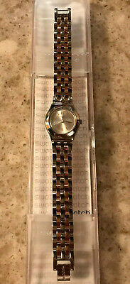 Swatch Irony Quartz Silver & Rose Gold Tone Women's Watch YSS308G NEW w/Box
