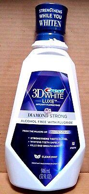 2 bottles CREST 3D WHITE DIAMOND STRONG CLEAN MINT RINSE MOUTHWASH 32 OZ EACH