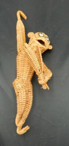 Vintage Mid Century Wicker Rattan Hanging Monkey 14 inches Tall