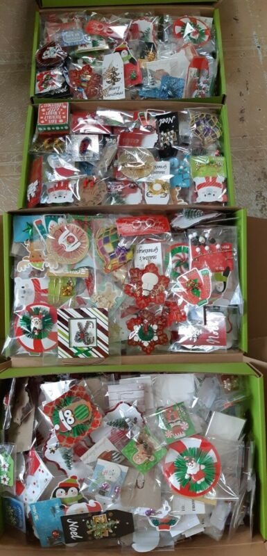 Huge Lot Of 150 Pieces Of Christmas Jewelry Vintage & New Handmade Gift Wrapped