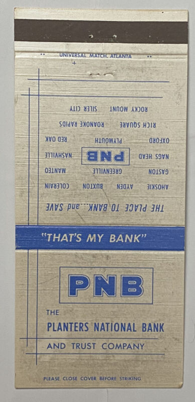 Vintage 30 Strike PNB Matchbook Cover Ad Tennessee a0708