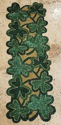 """STOREHOUSE St Patrick's Green Shamrock Beaded Table Runner Centerpiece 13""""x36"""""""