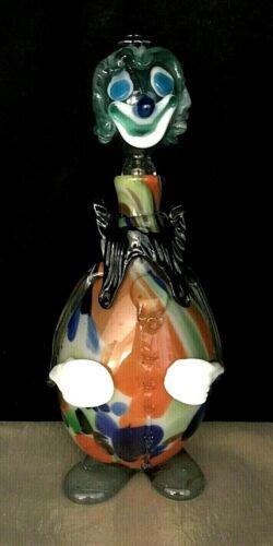 """Murano Vintage Multi-color Blown Glass Confetti Clown Decanter Slap Collar 11"""""""