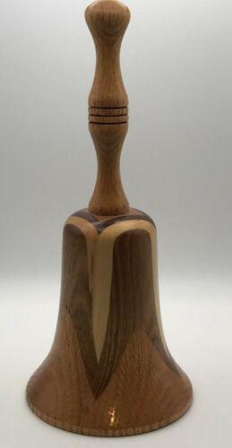 Vintage Hand Carved Made  WOODEN BELL Signed Butternut Oak Walnut Maple Wood