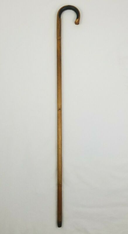 Vintage Bent Bamboo Rattan Cane Curved Handle Walking Stick Hook 37 1/4