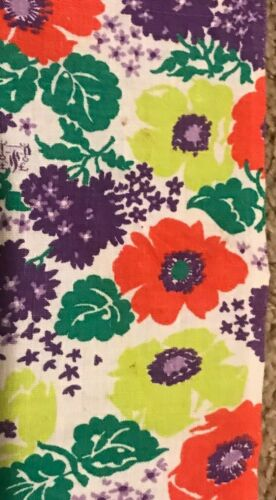 Vintage feed sack fabric, colorful purple green red white flowers
