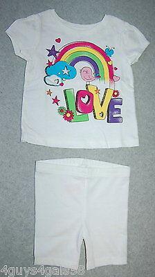 (Toddler Girls KNIT SHORTS & Tee Shirt GARANIMALS Glitter LOVE Bird Rainbow 18m)