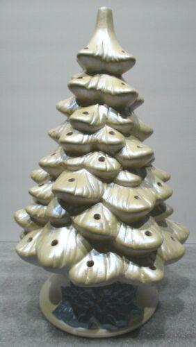 """Ceramic  Shiny Coated Christmas Tree and Base 12"""" - Needs Finished"""
