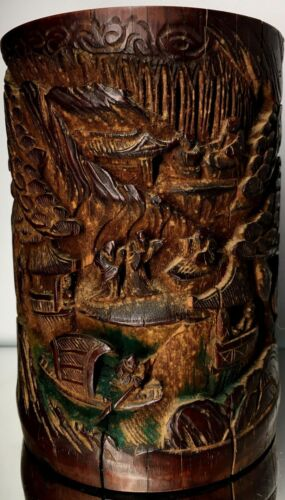 RARE Antique Chinese Qing Signed Bamboo Story Brush Pot Art Carving Asian