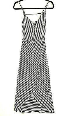 NEW SuperDry Women's Size XS Black White Striped Spaghetti Strap Maxi Dress